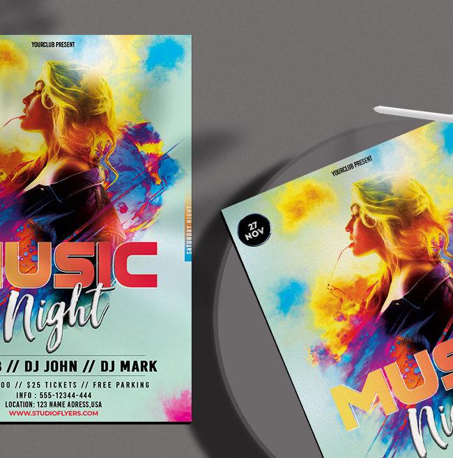 Music Night Free PSD Flyer Template