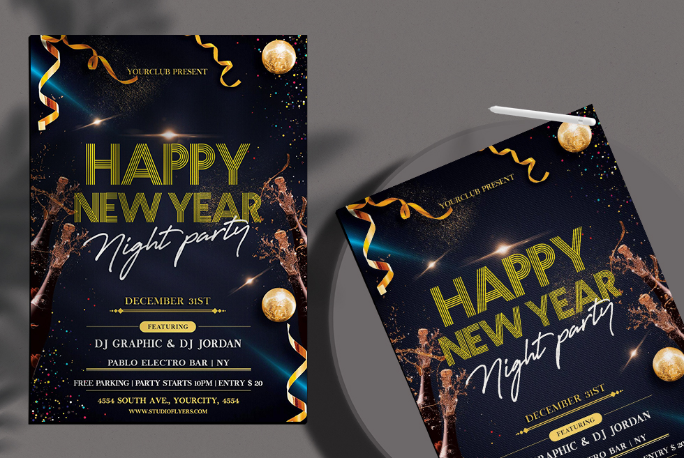 New Year Night Party Free PSD Flyer Template