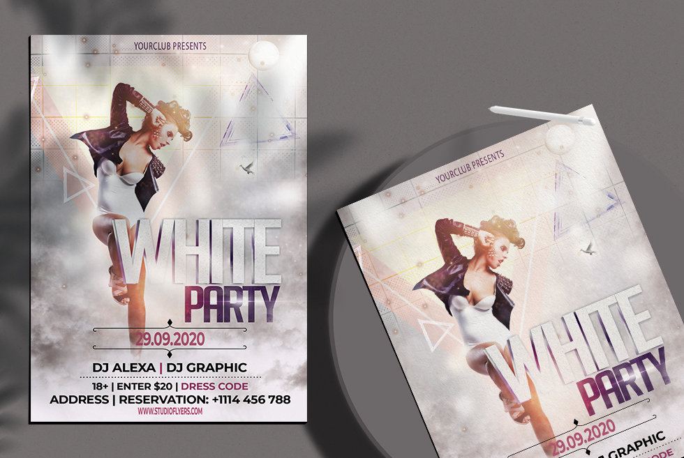 White Club Party Free PSD Flyer Template