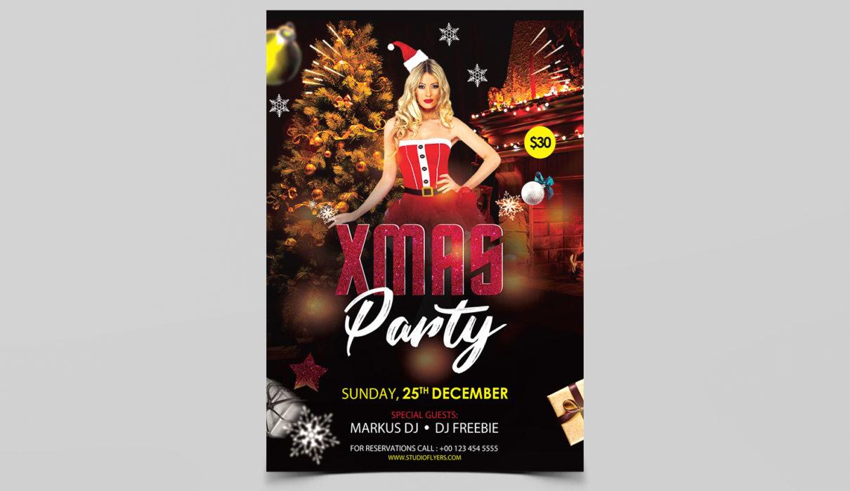Xmas Party Free Psd Flyer Template Studioflyers Com