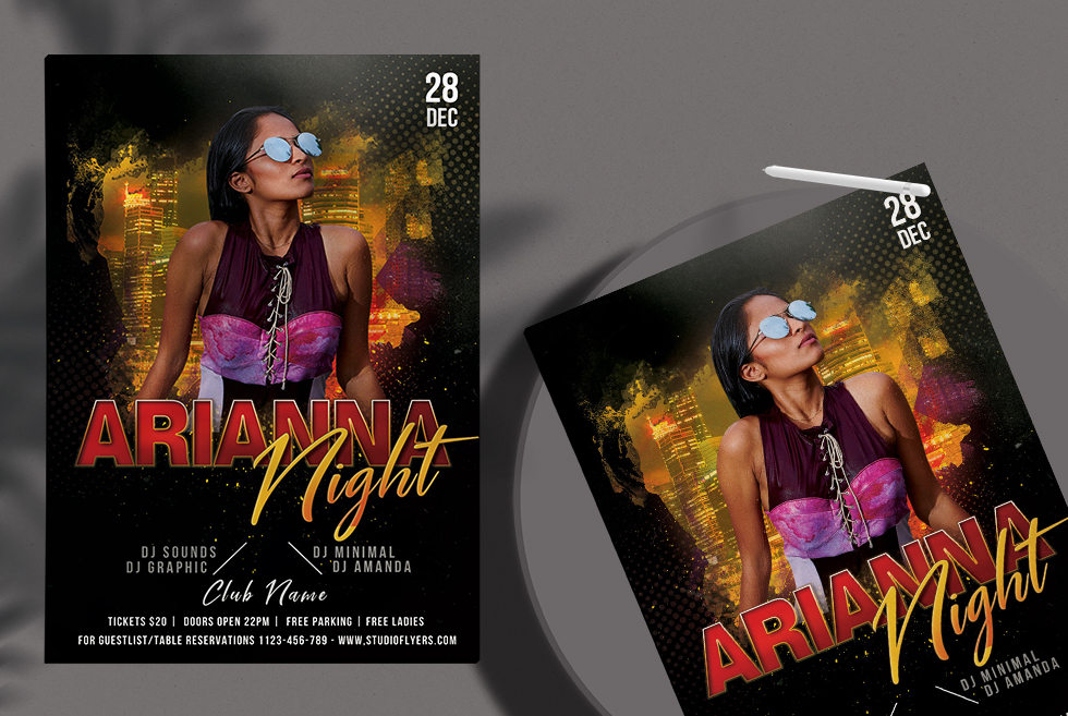 Arianna Night Party Free PSD Flyer Template