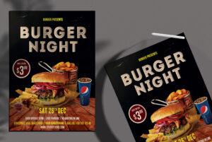 Burger Night Free PSD Flyer Template