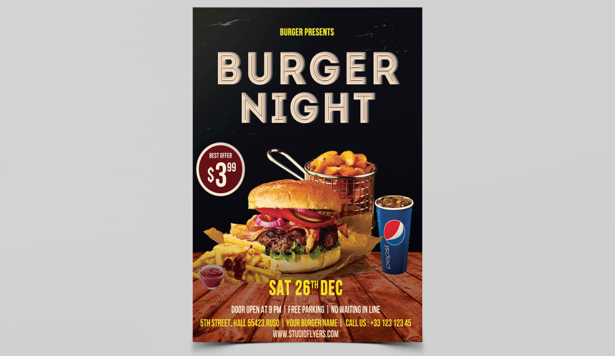 Burger Night Free PSD Flyer Templates