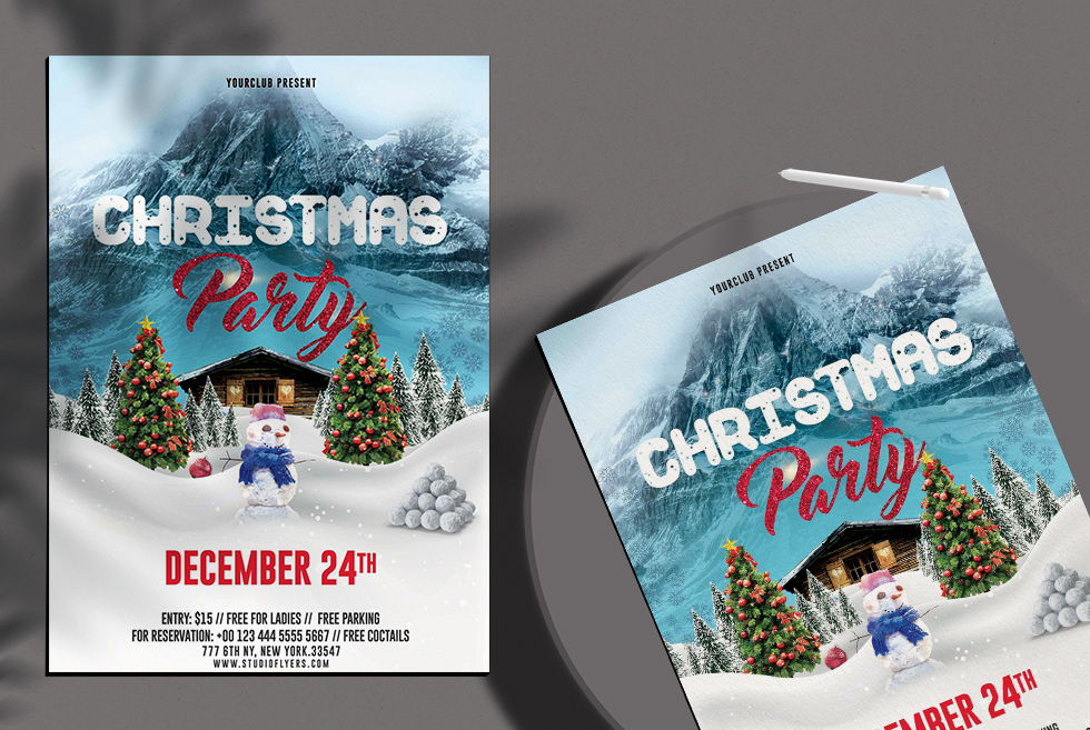 Christmas Party Freebie PSD Flyer Template