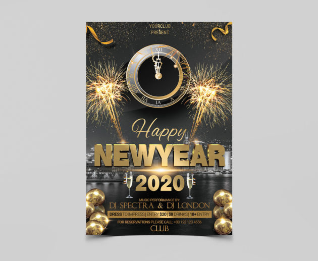 Happy 2020 New Years Free PSD Flyer Template