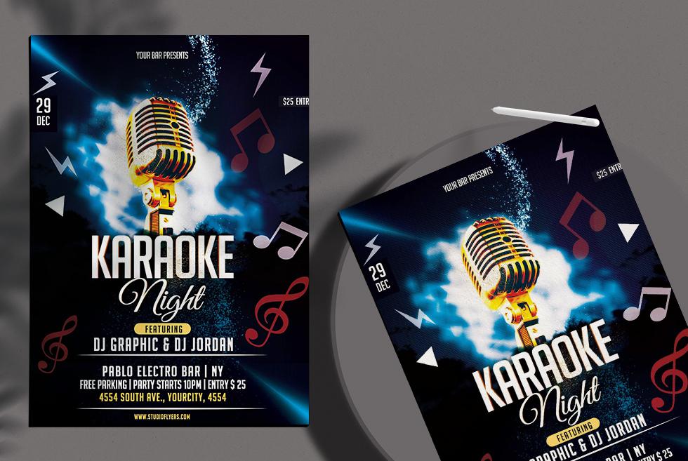 Karaoke Night Free PSD Flyer Template