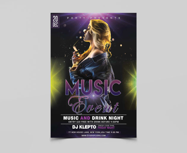 Music Event Free PSD Flyer Template