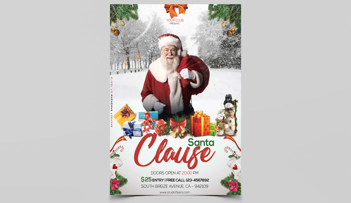 Santa Clause Free PSD Flyer Templates