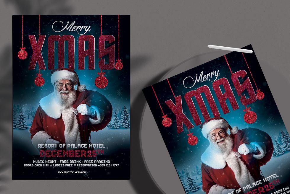 Santa Xmas Free PSD Flyer Template