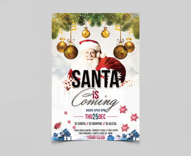 Santa is Coming Free PSD Flyer Templates