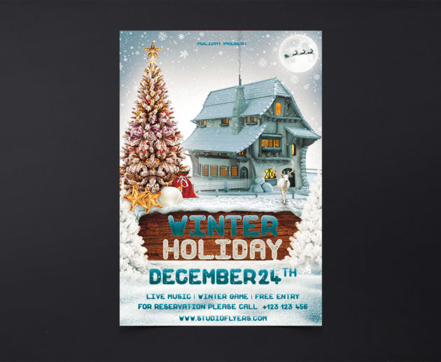 Winter Holiday Free PSD Flyer Templates