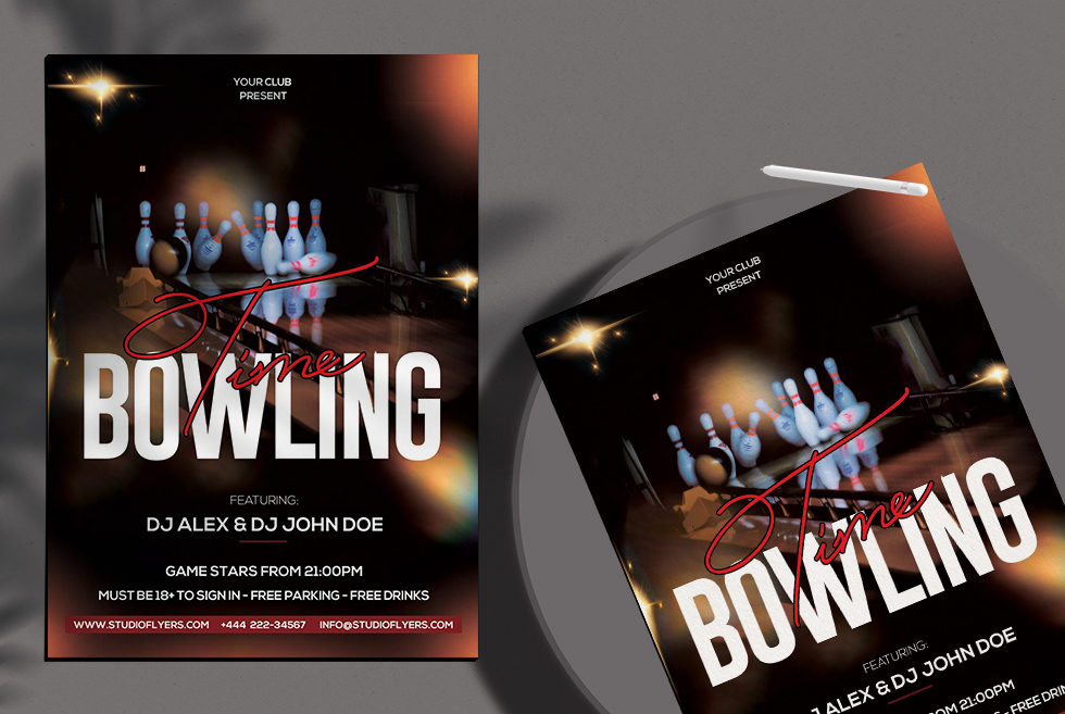 Bowling Time Free PSD Flyer Template