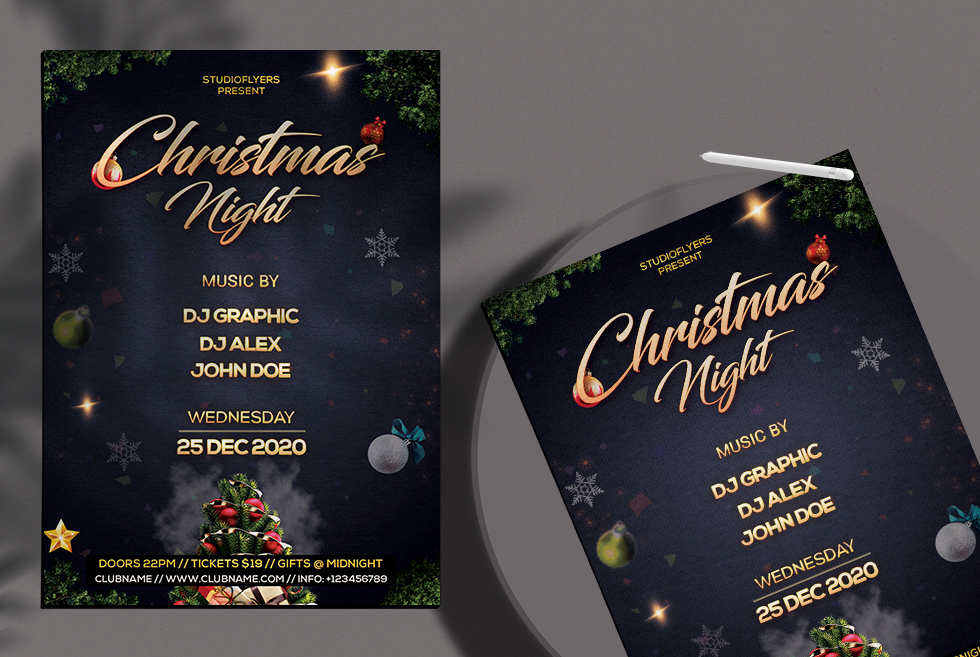 Christmas Night Free PSD Flyer Template