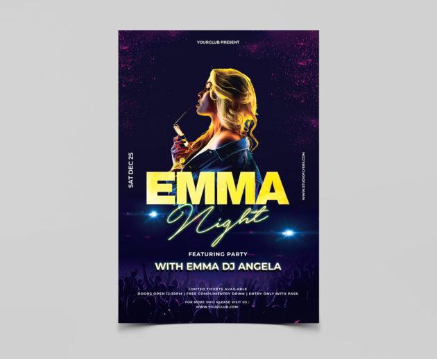 Emma Night Free PSD Flyer Template
