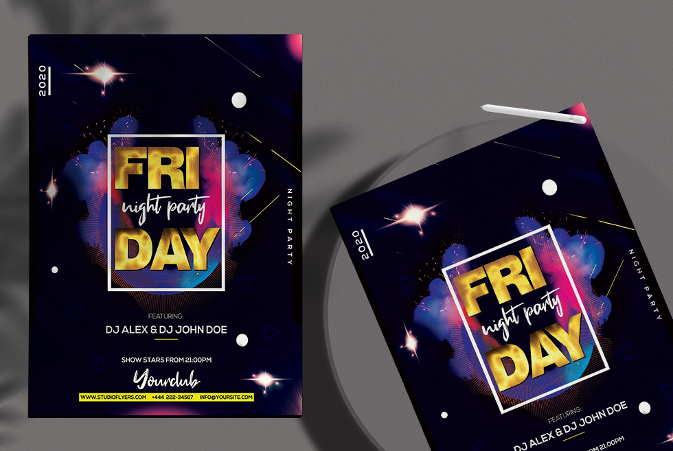 Friday Night Party Freebie PSD Flyer Template