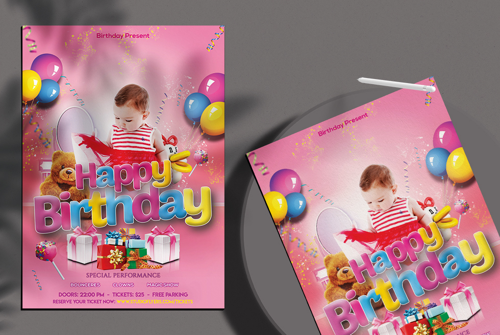 Happy Birthday Free PSD Flyer Template