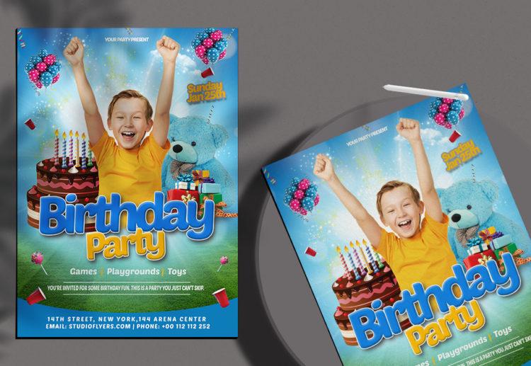 Happy Birthday Kids Free PSD Flyer Template