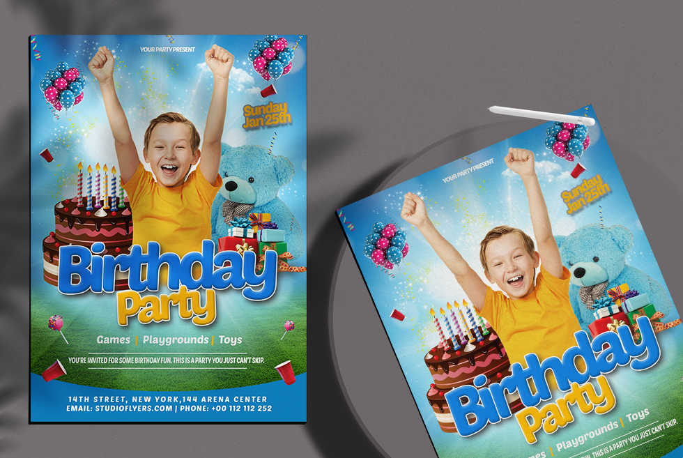 Happy Birthday Kids Free PSD Flyer Template