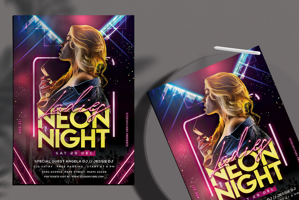 Ladies Neon Night Free PSD Flyer Templates