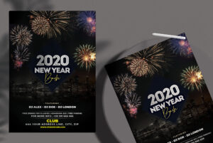 NYE 2020 Bash Free PSD Flyer Template
