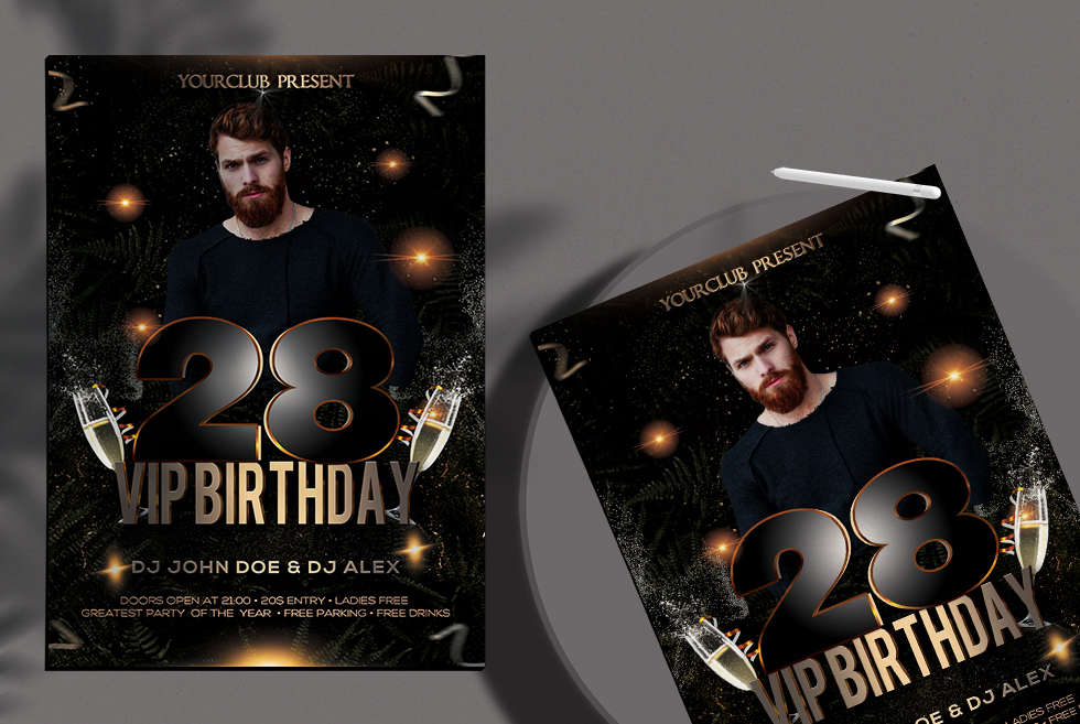 Vip Birthday Free PSD Flyer Template