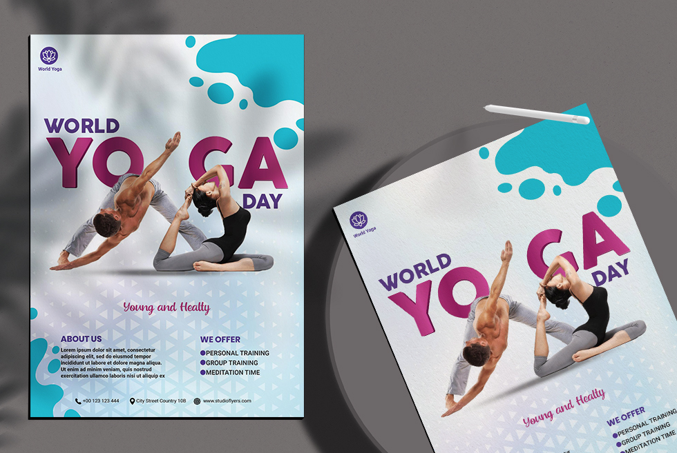 World Yoga Day Free Psd Flyer Template Studioflyers Com