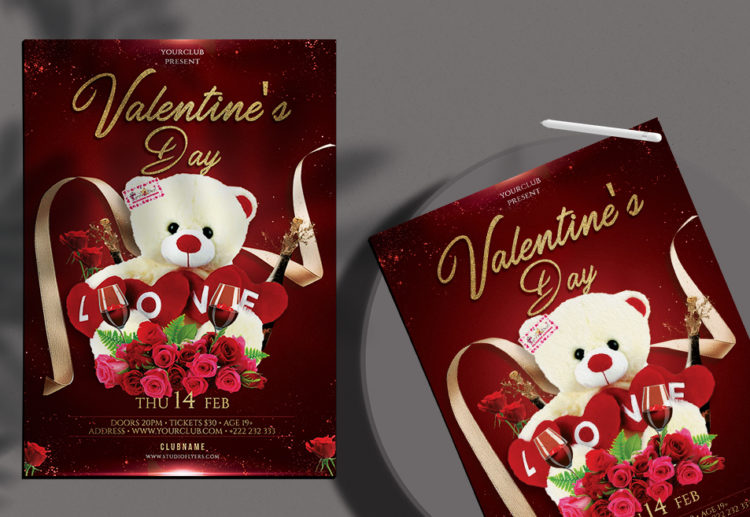 Be My Valentines Day Free PSD Flyer Template