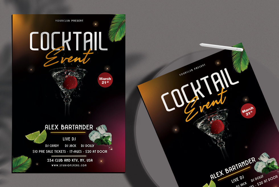 Cocktail Event Free PSD Flyer Template
