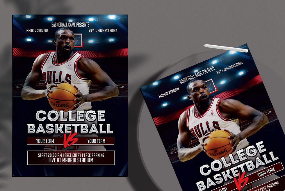 College Basketball Free PSD Flyer Template