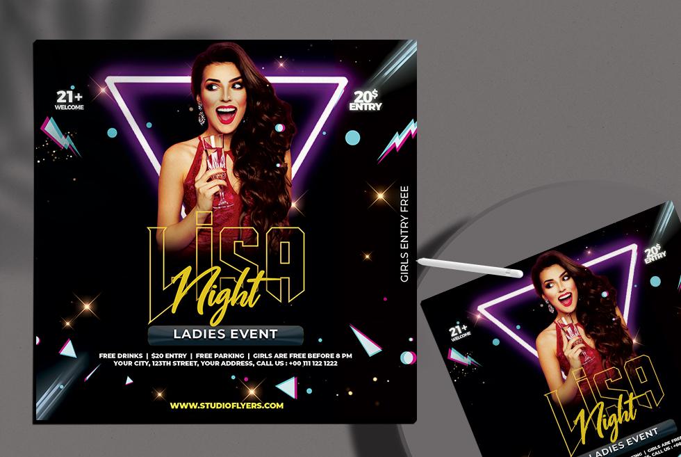 DJ Ladies Night Free PSD Flyer Template