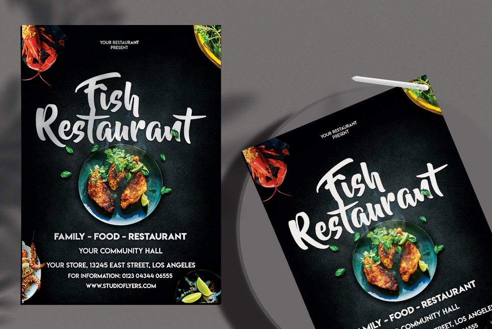 Fish Restaurant Free PSD Flyer Template