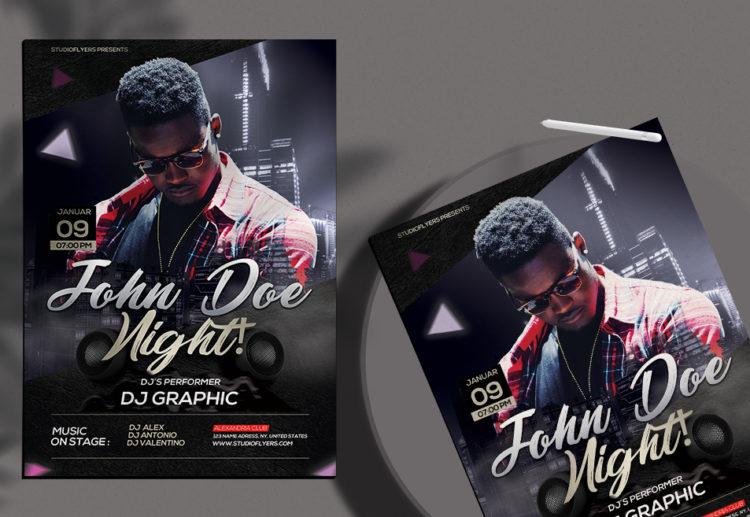 Dj Night Club PSD Free Flyer Template