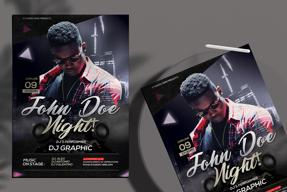 Dj Night Club PSD Free Flyer Template