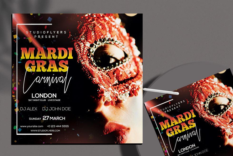 Mardi Gras Event Free PSD Flyer Template