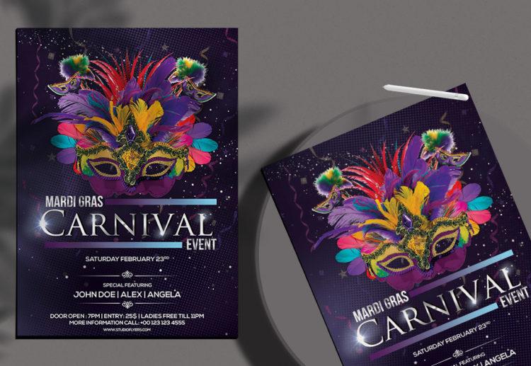 Mardi Gras Carnival Free PSD Flyer Template