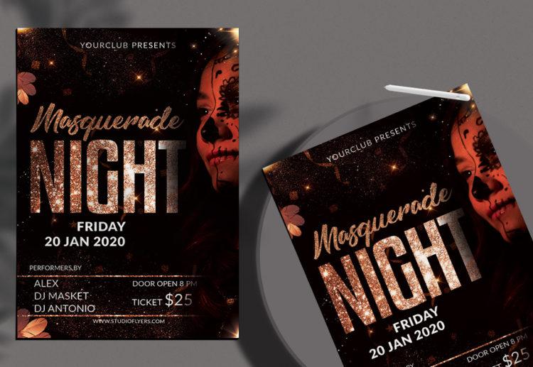 Masquerade Night Free PSD Flyer Template
