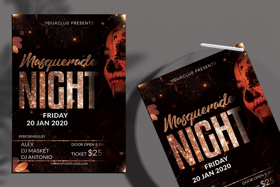 Masquerade Night Free PSD Flyer Template