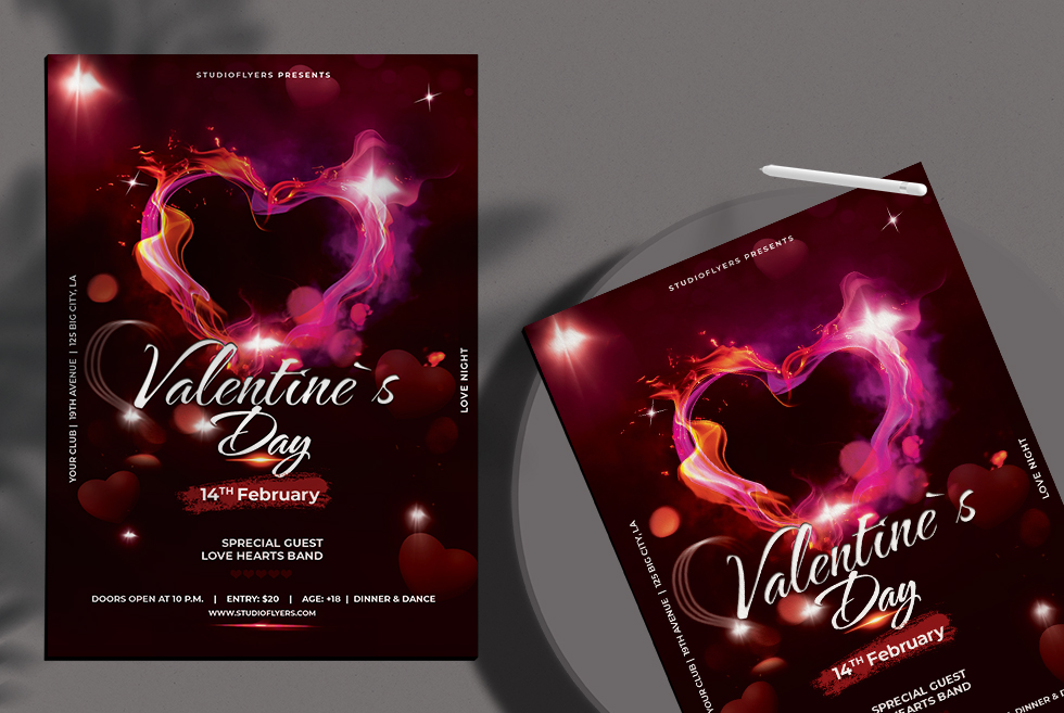 Valentines Day Event Free PSD Flyer Template
