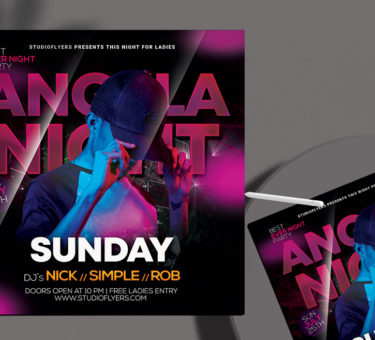 Angela Night Club Free PSD Flyer Template