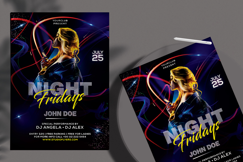 Club Dj Night Free PSD Flyer Template