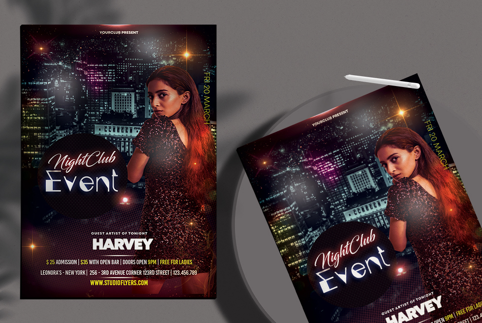 Event Club Night Free PSD Flyer Template