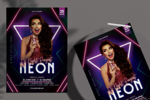 Neon Club Party Free PSD Flyer Template