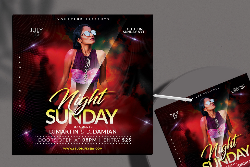 Sunday Night Free PSD Flyer Template