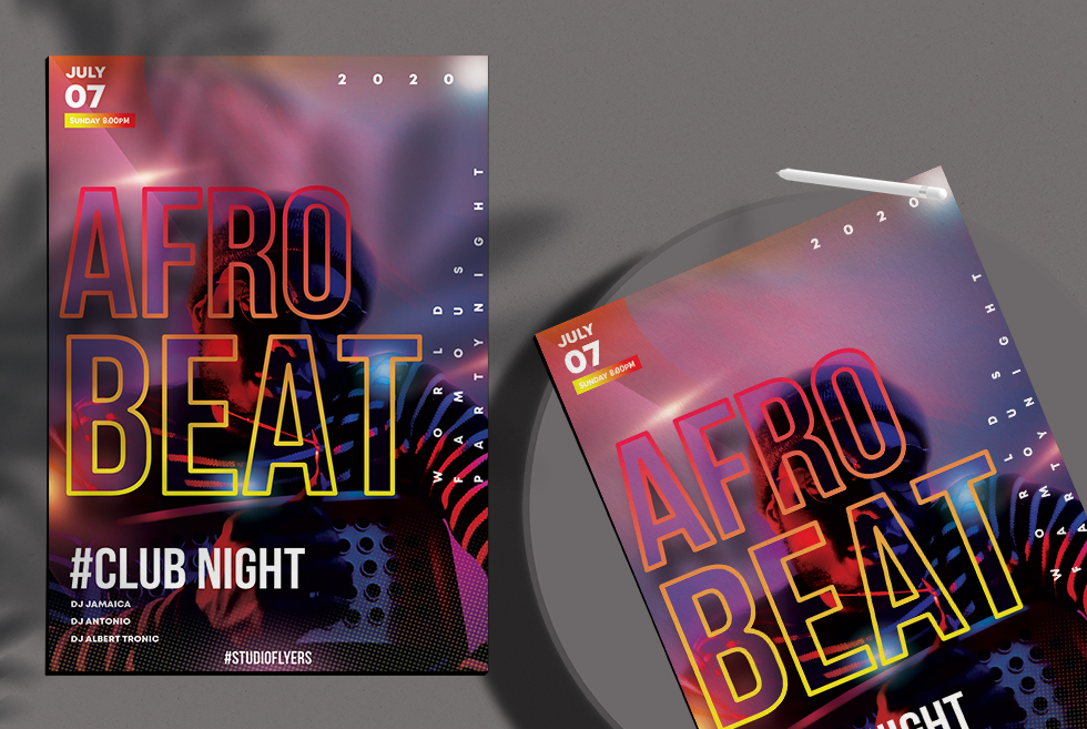Afro Beat Club Night Free PSD Flyer Template