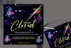CoronaVirus Closed Club - Free PSD Flyer