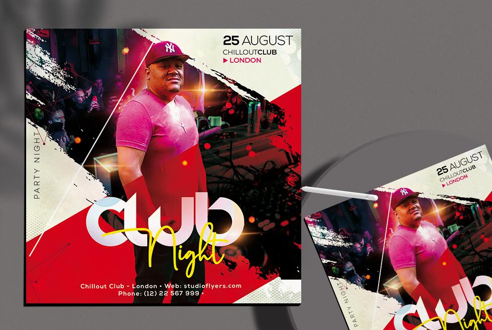 DJ Club Night Free PSD Flyer Template