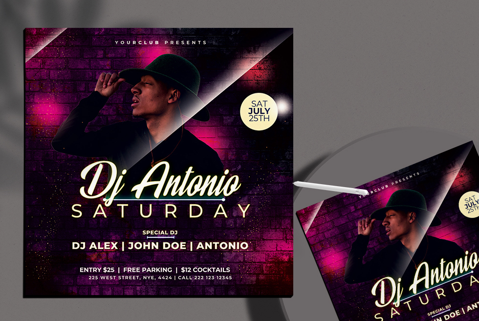 DJ Club Zone Free PSD Flyer Template