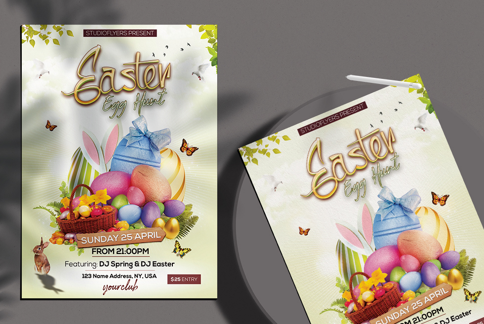 Easter Egg Hunt Free PSD Flyer Template