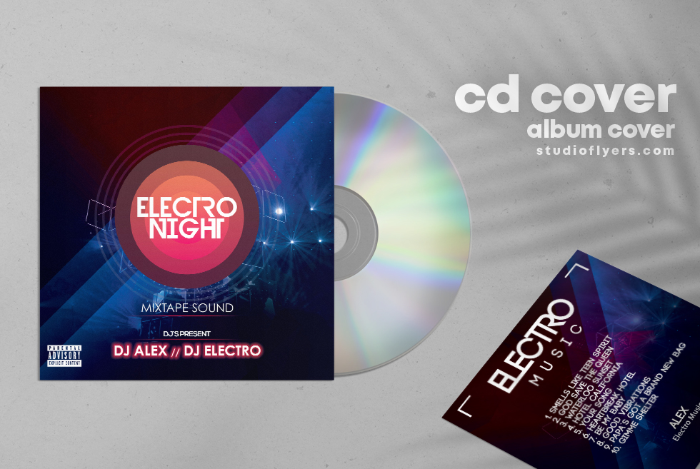 Electro Night Free CD Artwork PSD Template