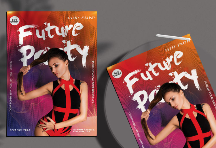 Future Club Party Free PSD Flyer Template